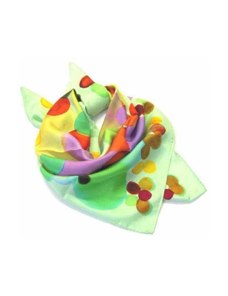 Silk Foulard with pois 90x90