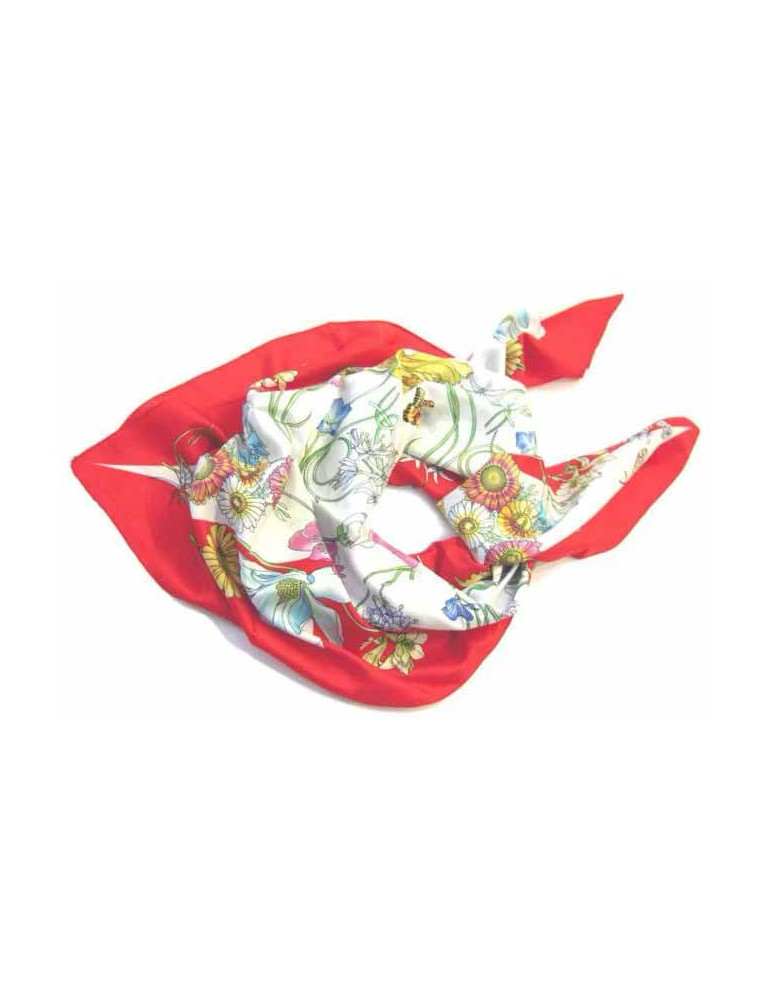 Foulard with floral motifs - 90x90 cm