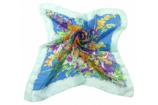 Foulard with bouquet of flowers - 65X65 - Turquoise