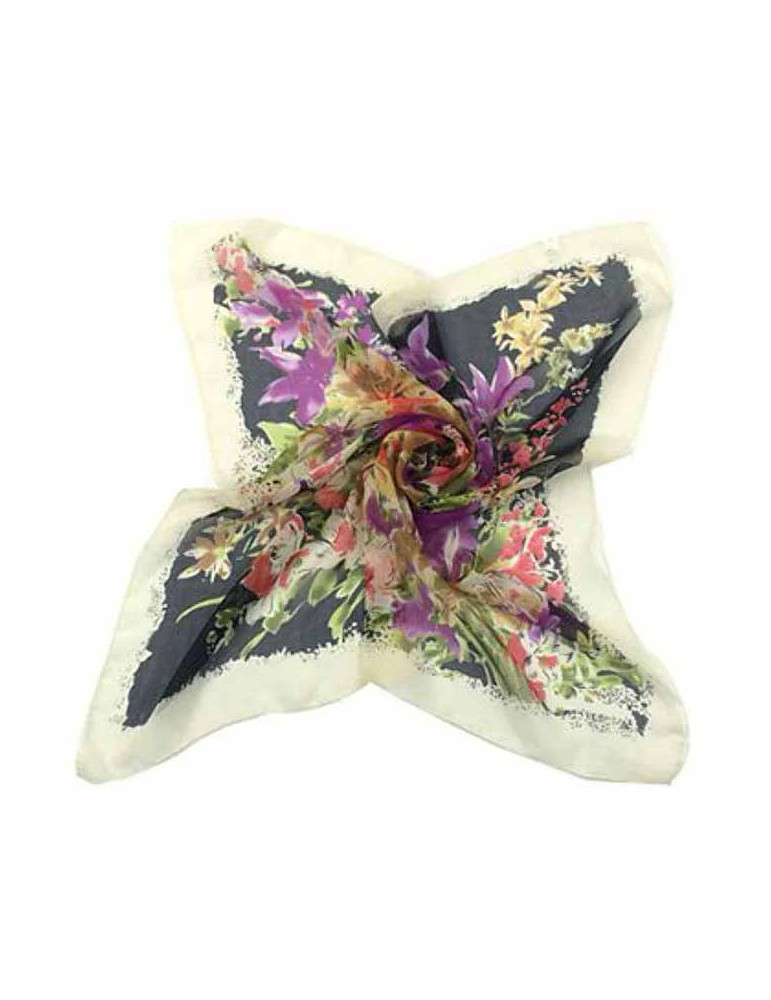 Foulard con bouquet di fiori - 65X65 - Nero
