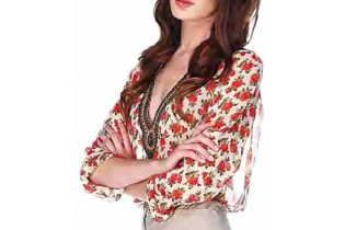 Voile blouse with floral...