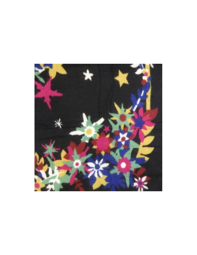 Floral pattern shawl LS-FLOW-blk 145X145