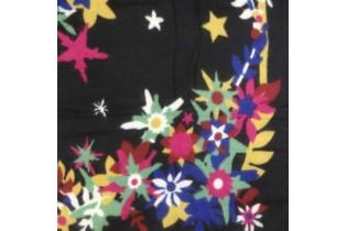 Scialle motivo floreale LS-FLOW-blk 145X145