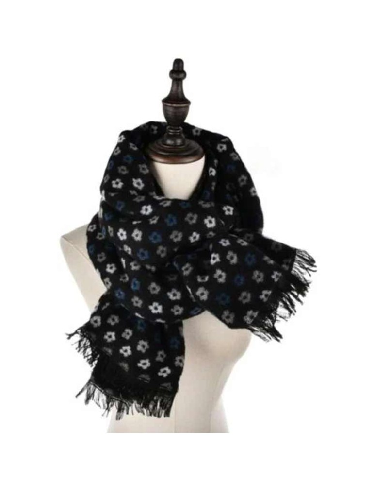 ABBIGLIARE Scarf-with-microflowers-BLK