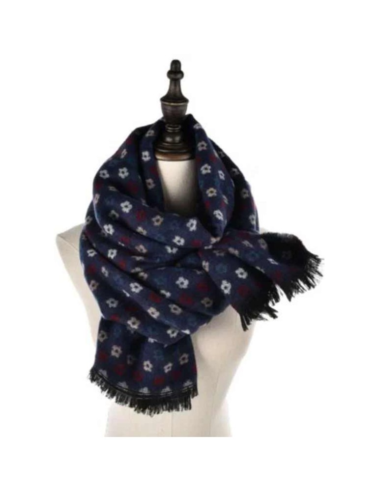 ABBIGLIARE Scarf-with-microflowers-BLUE