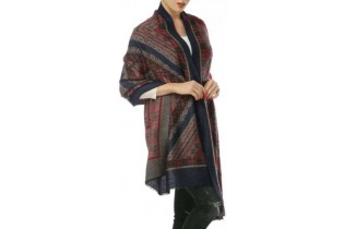Scarf with ethnic motif-BLK