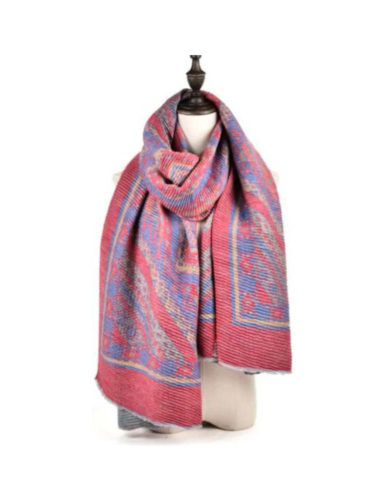 Scarf with ethnic motif-RED