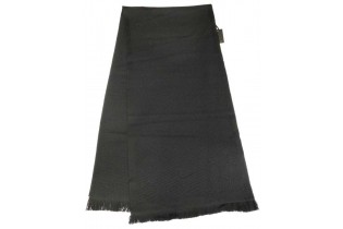 Scarf-35x160-honeycomb-in-black-wool with FENDI motif on the bottom embroidered in tone-on-tone relief